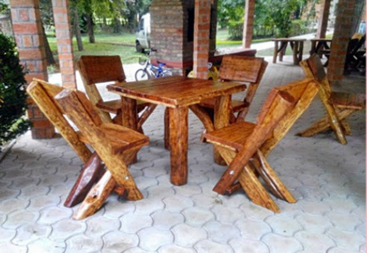 Casa Padrino Gartenmöbel Set Rustikal Tisch + 4 Garten Stühle Eiche Massivholz Echtholz Möbel Massiv