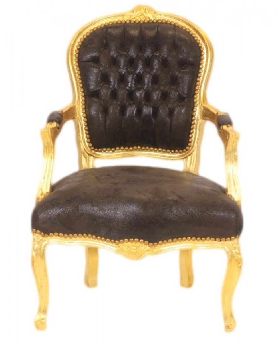 casa padrino barock salon stuhl braun lederoptik gold mobel antik stil 1