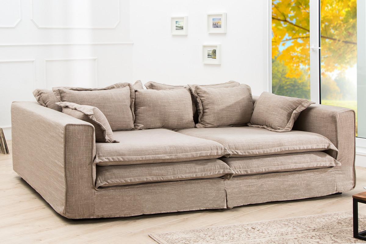 Casa Padrino Designer Wohnzimmer Sofa sandfarbig - Luxus Qualität ...