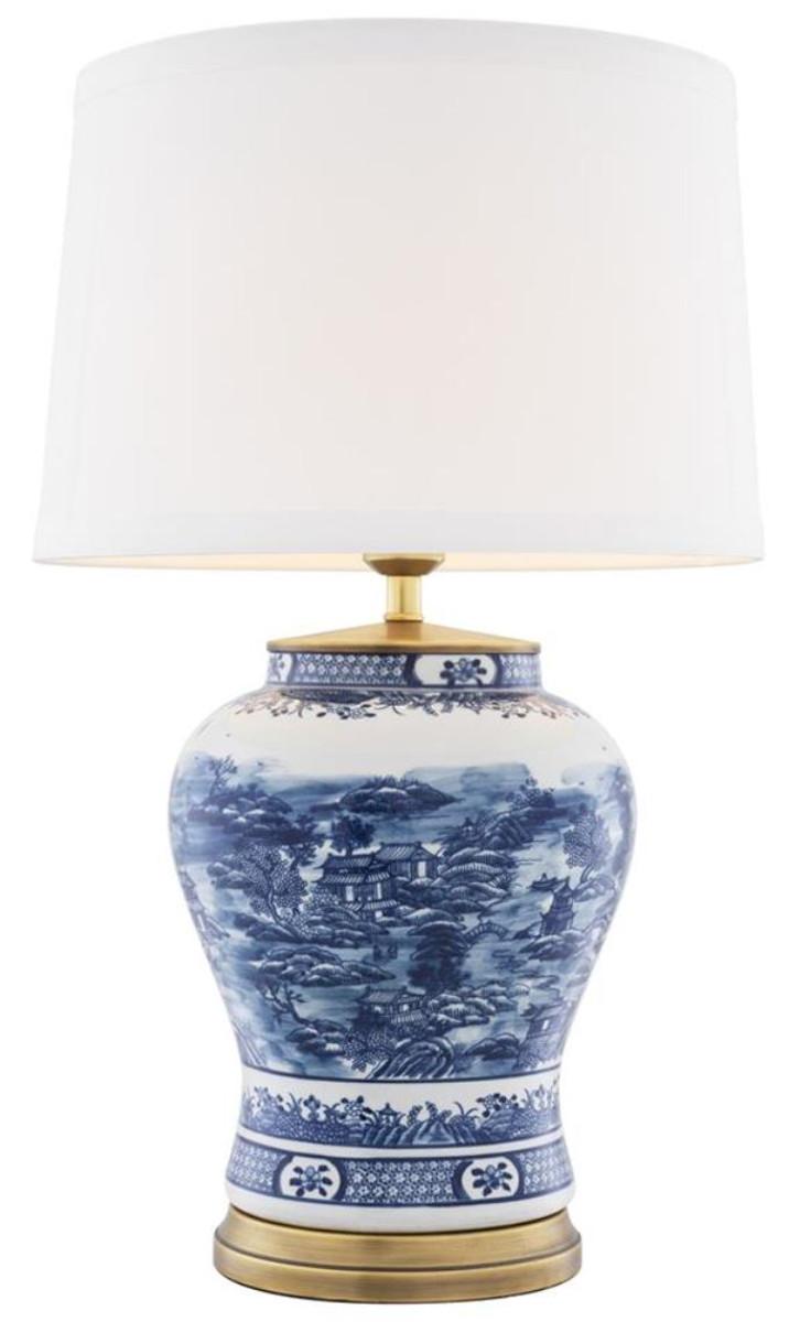 Bezaubernd Keramik Tischleuchte Sammlung Von Casa Padrino Weiß / Blau 28 X
