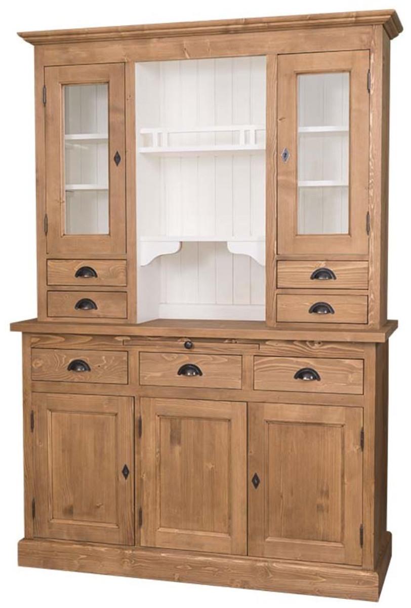 Küchenschrank weiß landhausstil  Casa Padrino Landhausstil Küchenschrank Braun / Weiß 137 x 50 x H ...