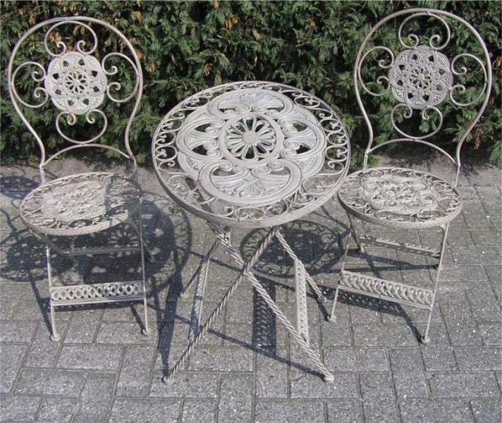 Jugendstil Gartenmöbel Set French Gray   1 Tisch, 2 Stühle   Eisen
