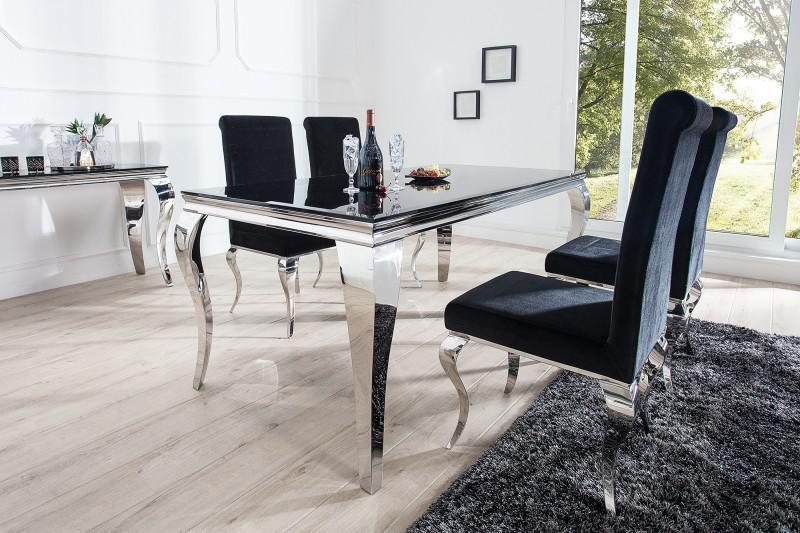 casa padrino luxus esszimmer set schwarz silber esstisch 180 cm 4 sthle - Esstisch Barock Modern