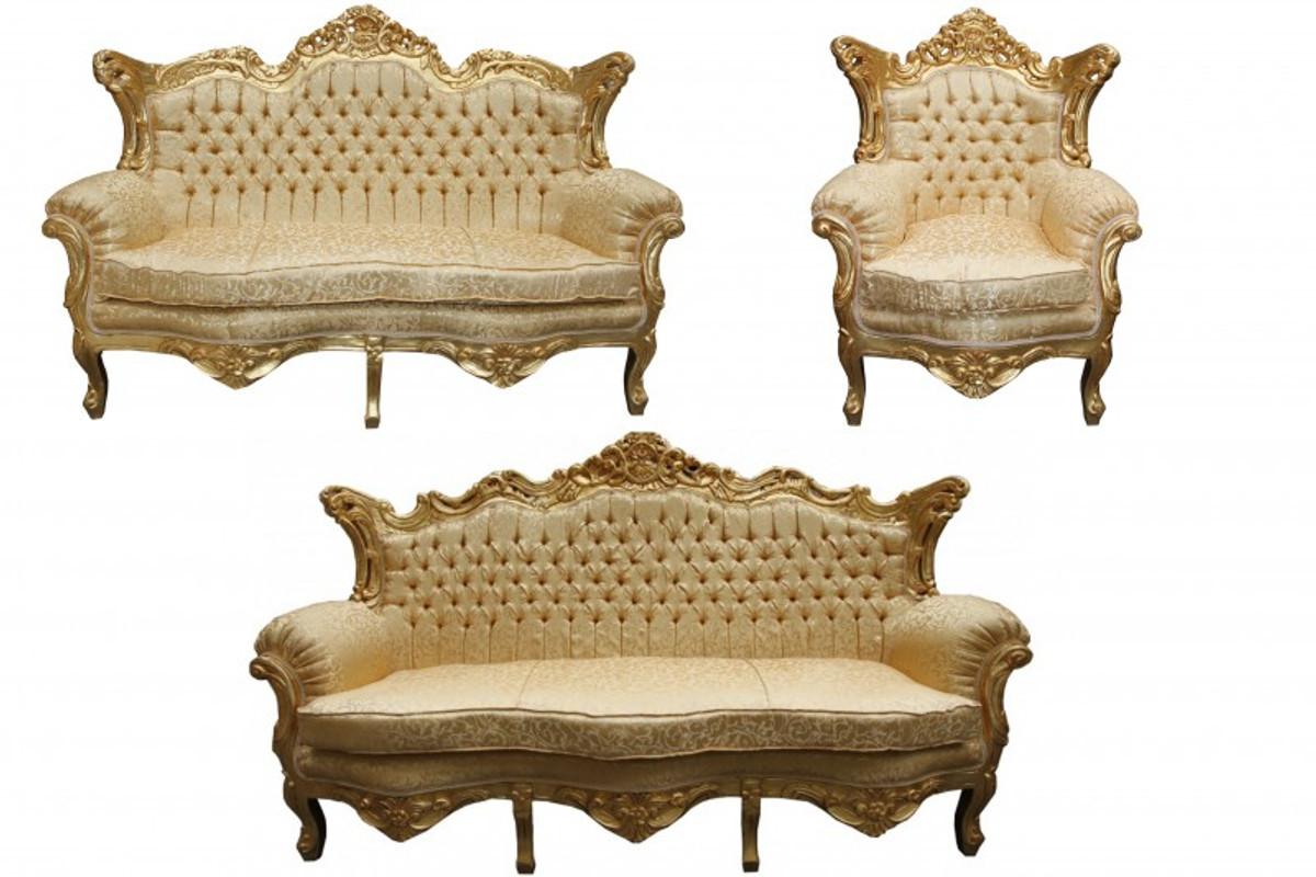 Casa padrino barock wohnzimmer set gold muster gold 3er for Sofa 2er 3er