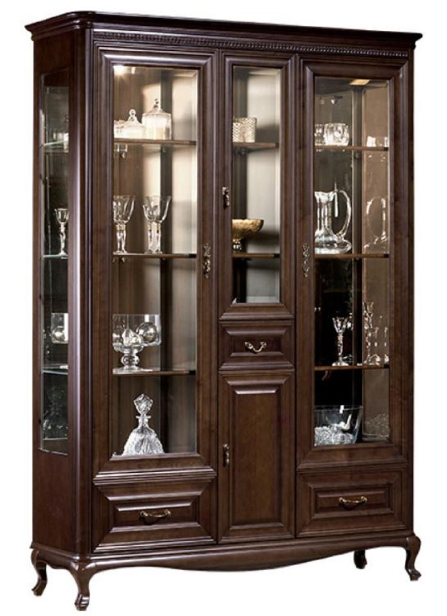 Casa Padrino Luxus Jugendstil Vitrinenschrank Dunkelbraun 7, 7 x 7, 7 x  H. 7, 7 cm - Beleuchteter Wohnzimmerschrank mit 7 Türen und 7 Schubladen