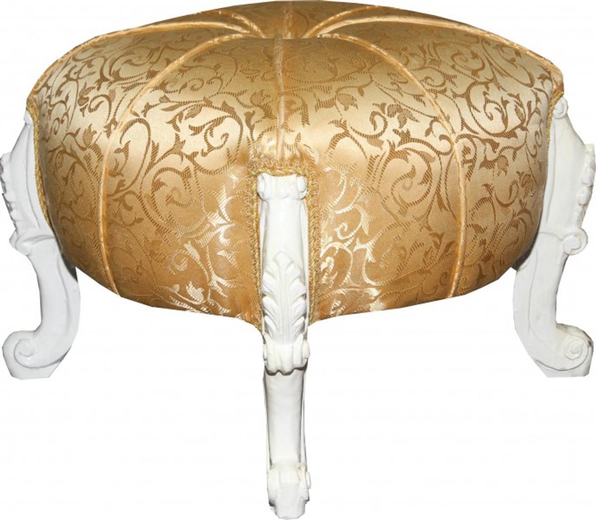 Casa Padrino Barock Sitzhocker Rundhocker Gold Muster Weiss