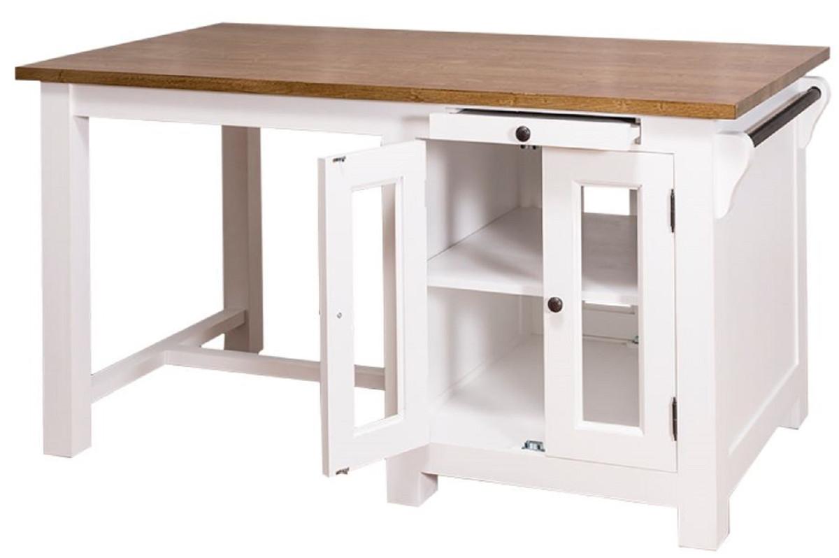 casa padrino landhausstil kücheninsel mit 4 glastüren und