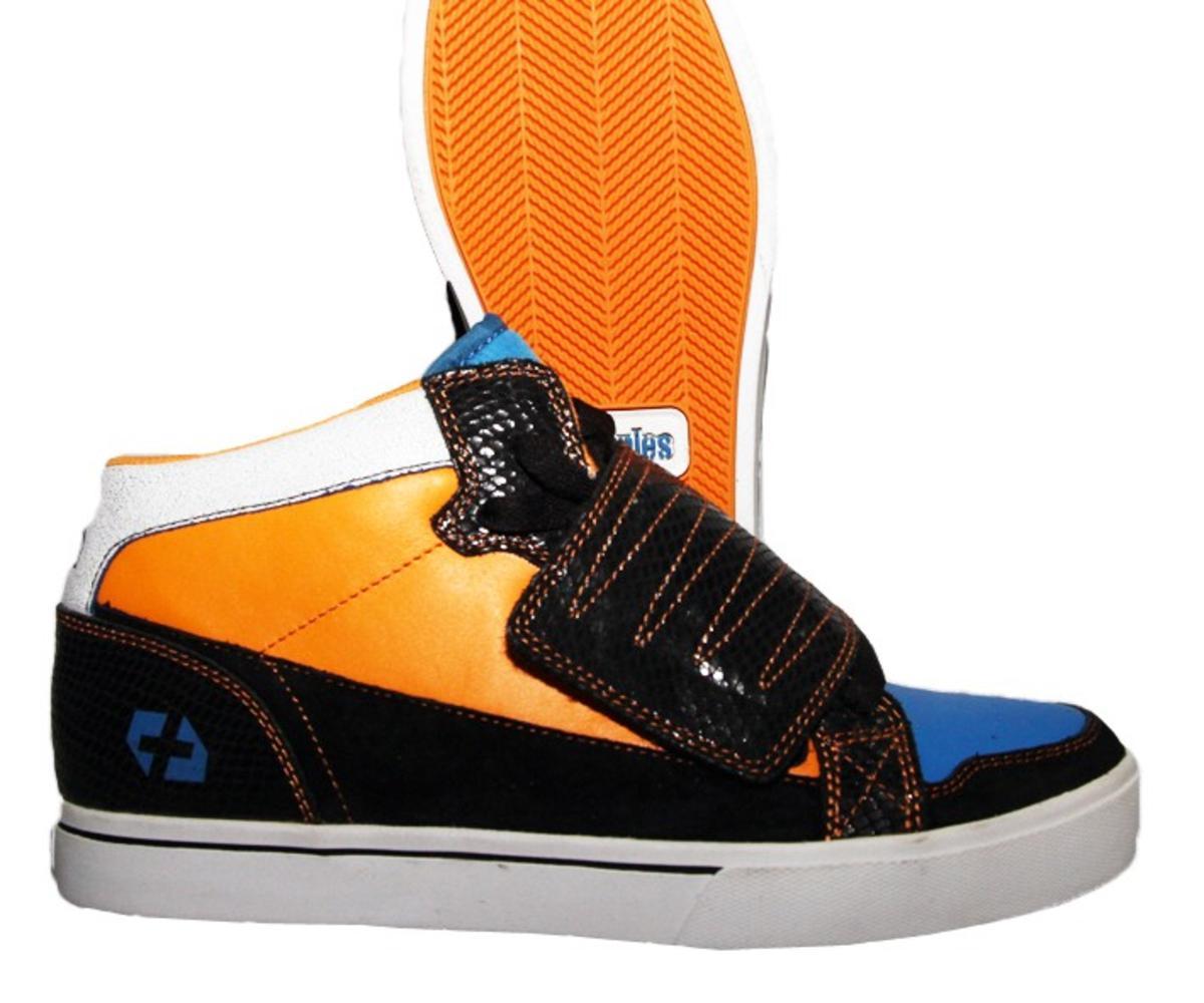 Etnies Skateboard Schuhe Etnies Plus Mid-Velcro Schwarz Blau Orange
