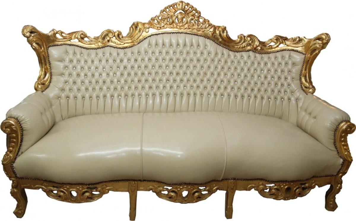 Casa Padrino Barock 3er Sofa Master Creme Lederoptik / Gold mit ...