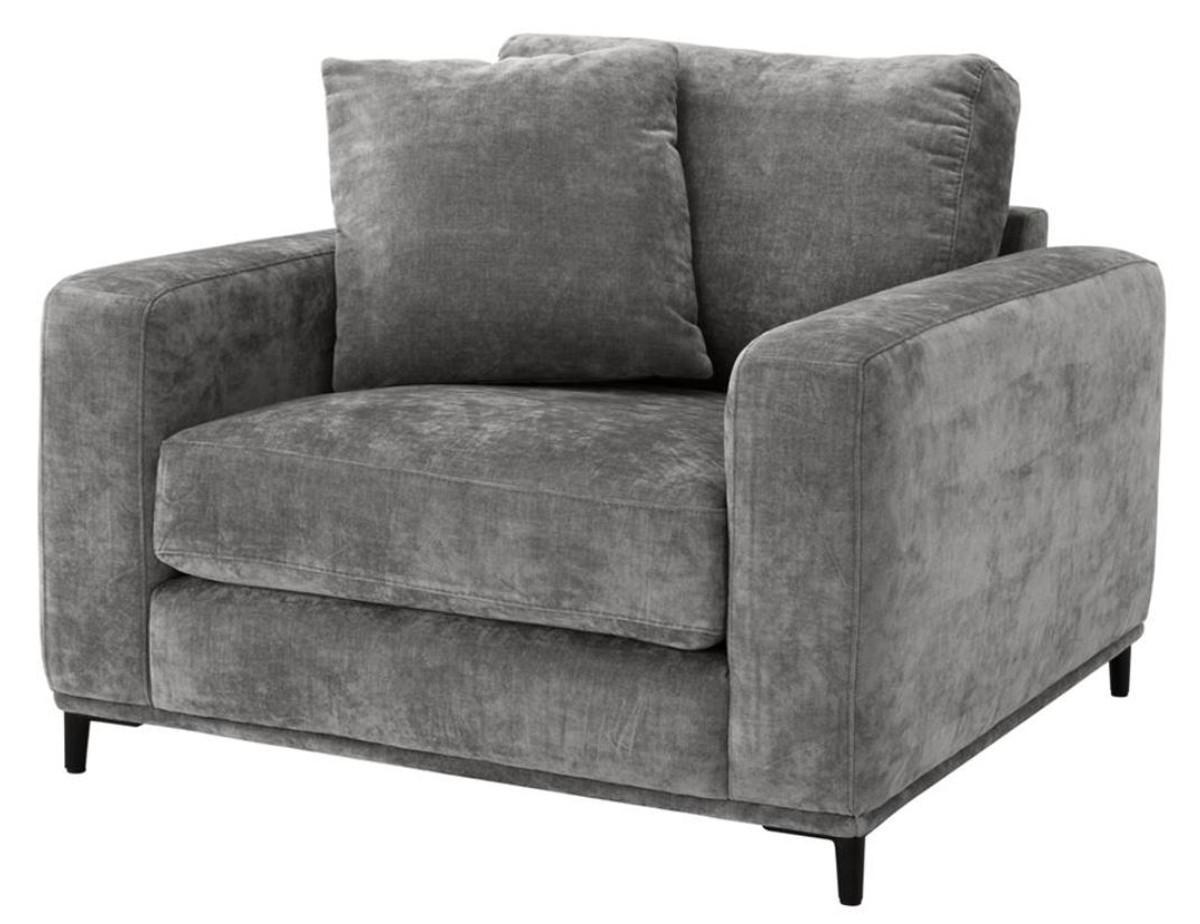 Casa Padrino Luxus Wohnzimmer Sessel Grau Schwarz 105 X 102 X H