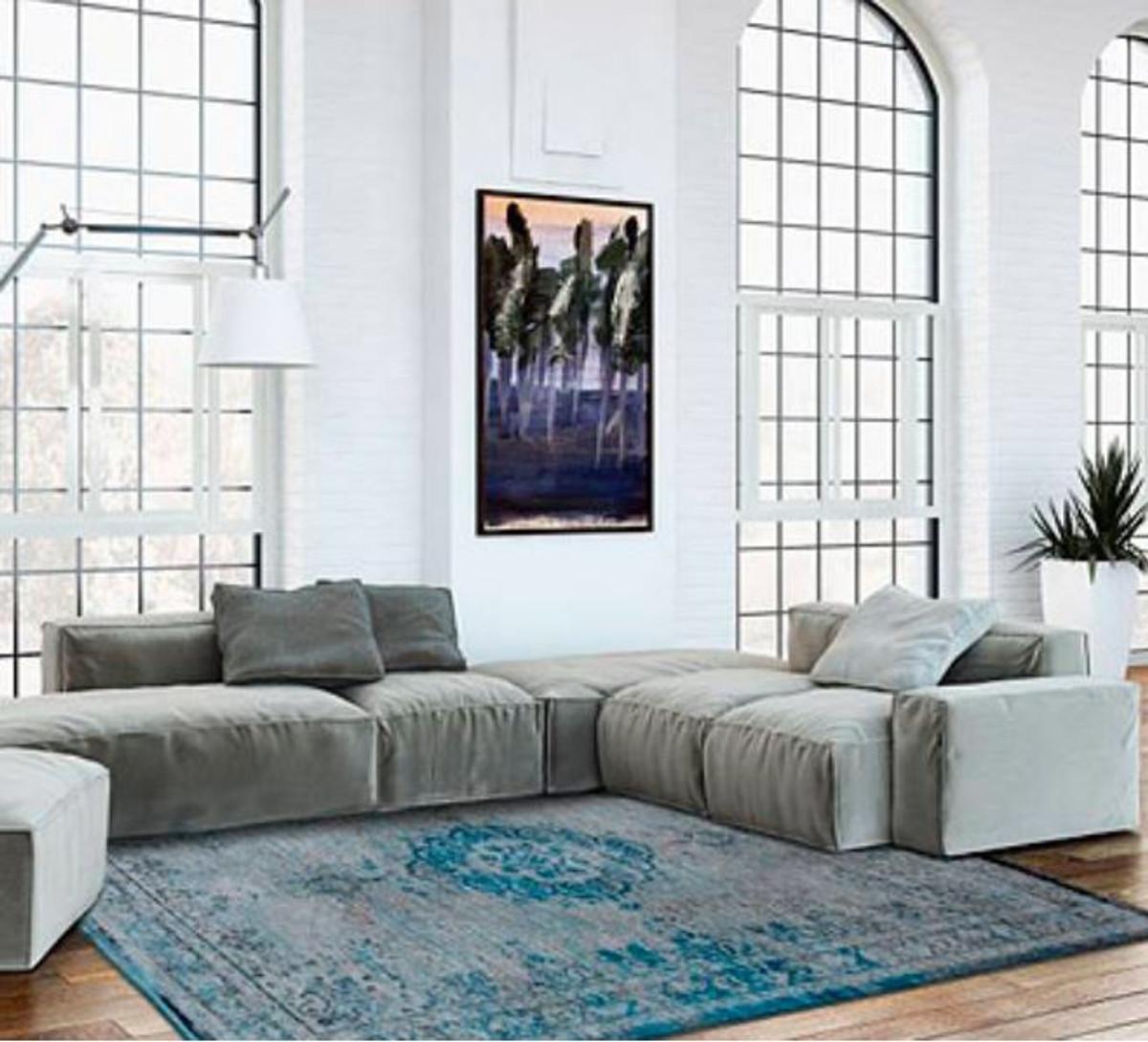 ... Casa Padrino Wohnzimmer Teppich Grau / Türkis 200 X 280 Cm   Luxus  Qualität 5