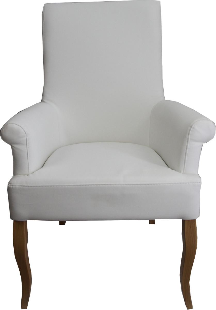 Casa Padrino Esszimmer Stuhl Weiß Kunstleder Holzfarben