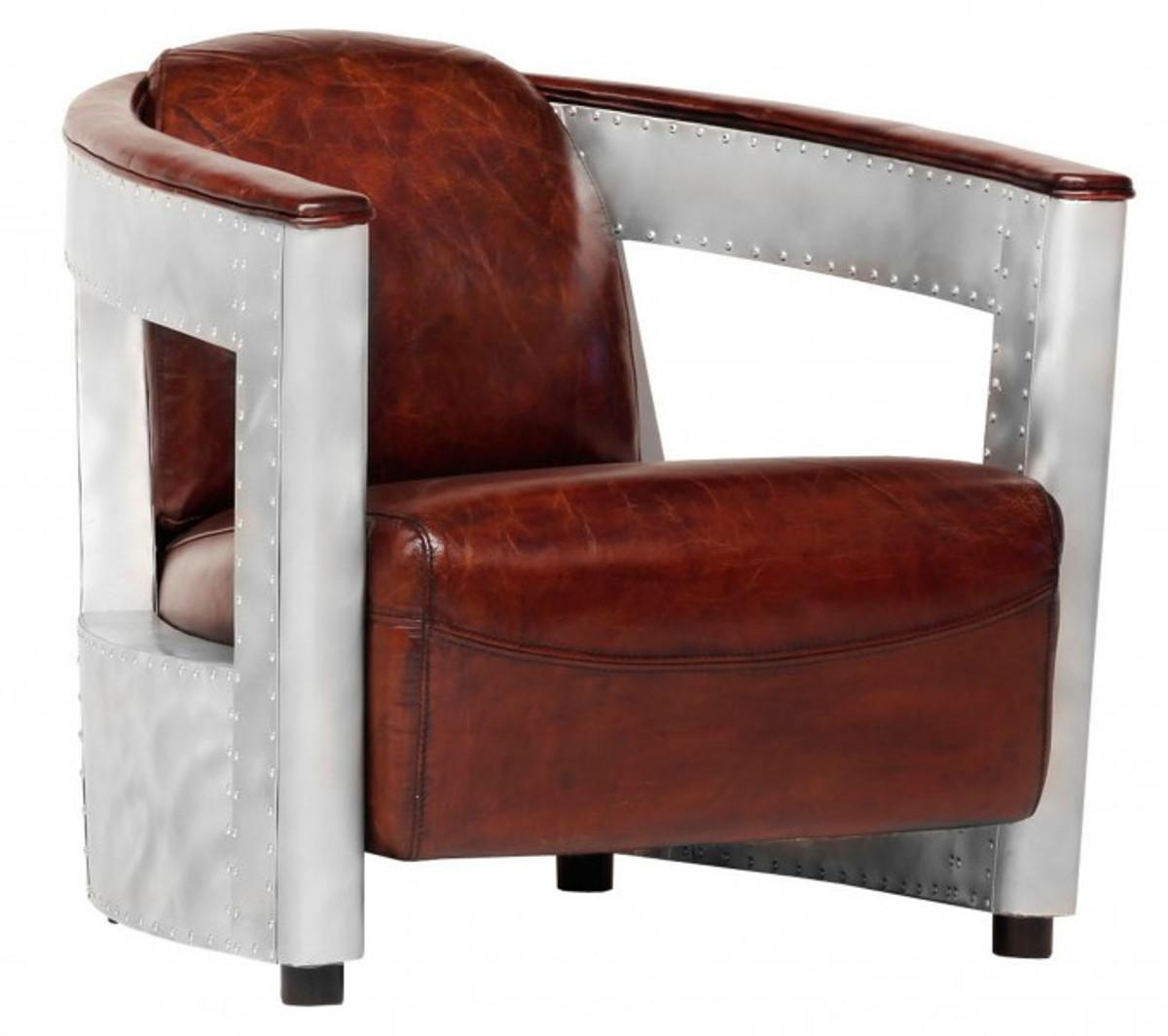 Casa Padrino Echt Leder Art Deco Sessel Chrom Braun