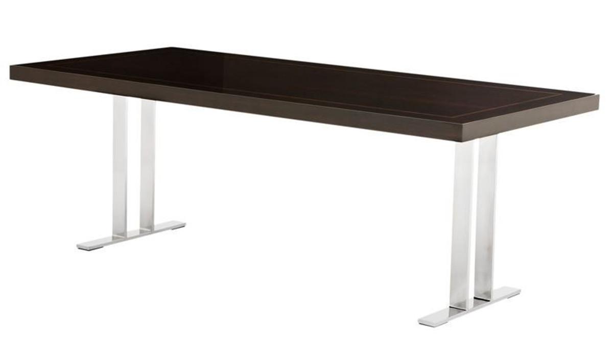 Casa Padrino Designer Luxus Esstisch Braun Hochglanz Chrom 220 Cm Esszimmer Tisch Konferenztisch