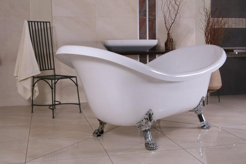 Freistehende Luxus Badewanne Jugendstil Venedig Weiß/Silber