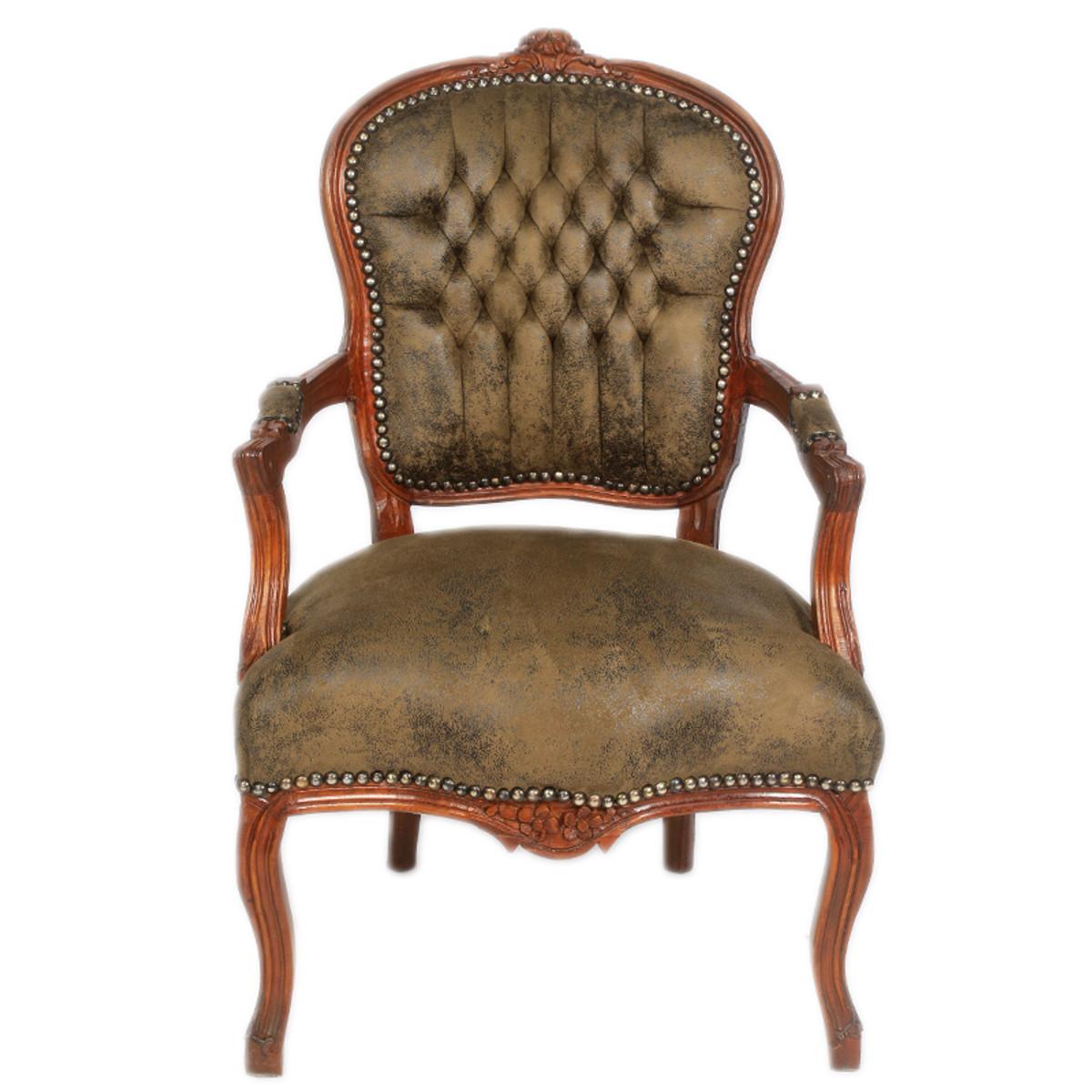 Casa Padrino Antik Stil Salon Stuhl Braun Lederoptik 60 X