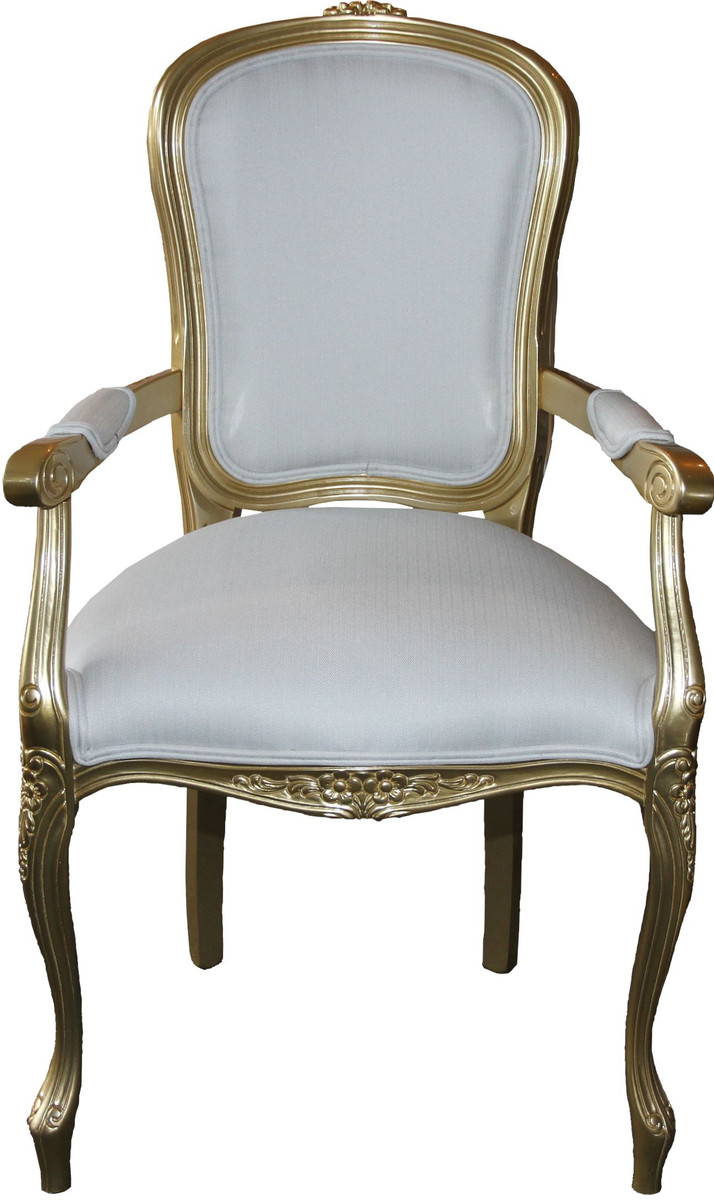 Casa Padrino Barock Esszimmer Stuhl Mit Armlehnen Weiss Gold