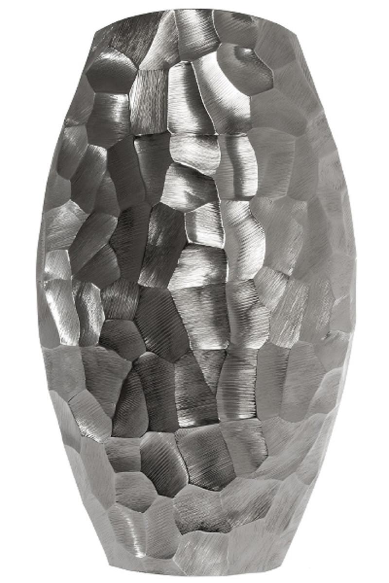 Casa Padrino Luxus Metall Vase Silber 27 X 12 X H 46 Cm Luxus