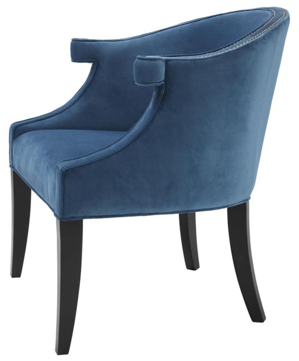 Casa Padrino Luxus Salon Sessel Mit Armlehnen Blau Schwarz 70 X 70