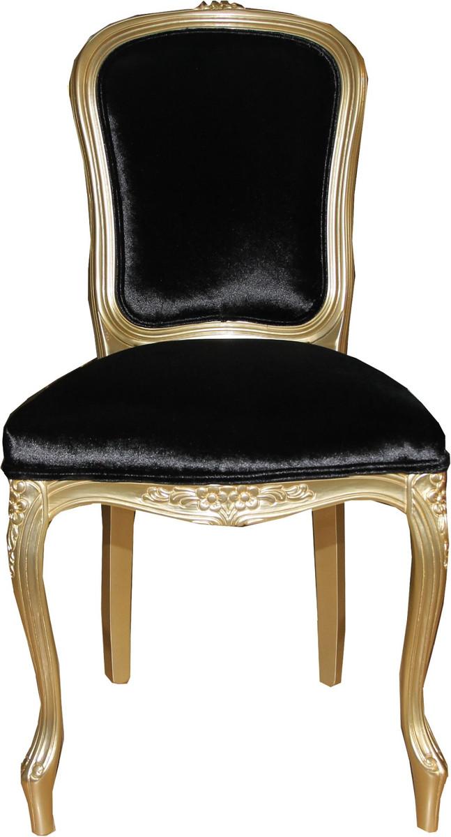Casa Padrino Luxus Barock Esszimmer Stuhl Gold Schwarz
