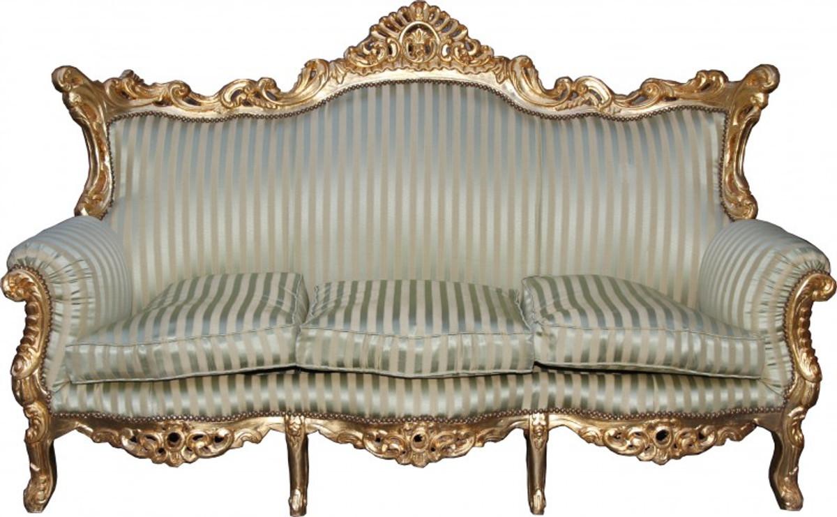 Casa Padrino Barock 3er Sofa Master Jadegrün/Beige / Gold Mod3   Wohnzimmer  Couch Möbel