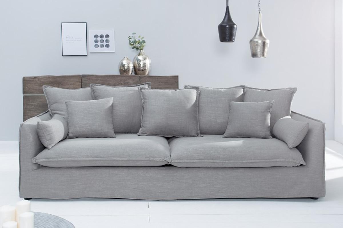 Casa Padrino Designer Wohnzimmer 3er Sofa grau - Luxus Qualität