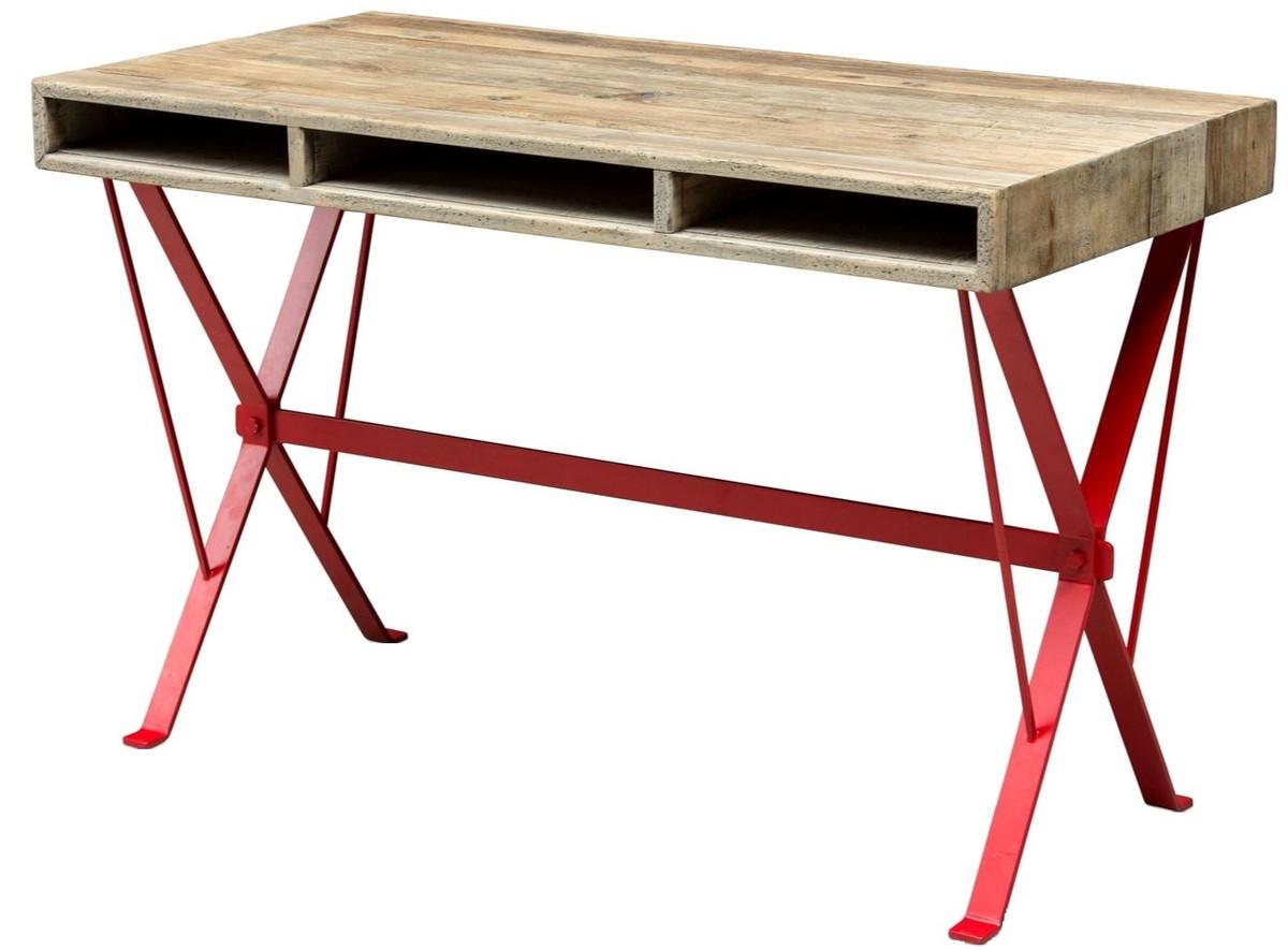 Casa Padrino Designer Schreibtisch Mit Rot Pulverbeschichteten
