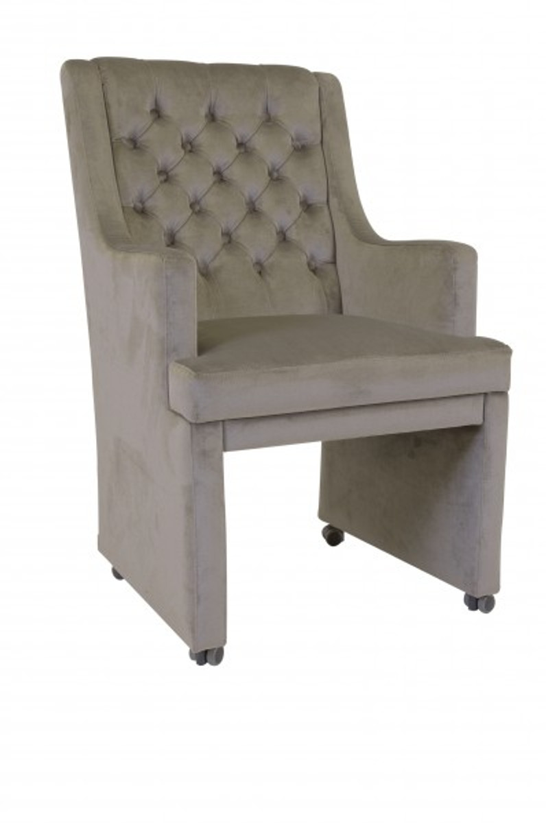 Casa Padrino Designer Esszimmer Stuhl Sessel Modef 313 Grau Samt
