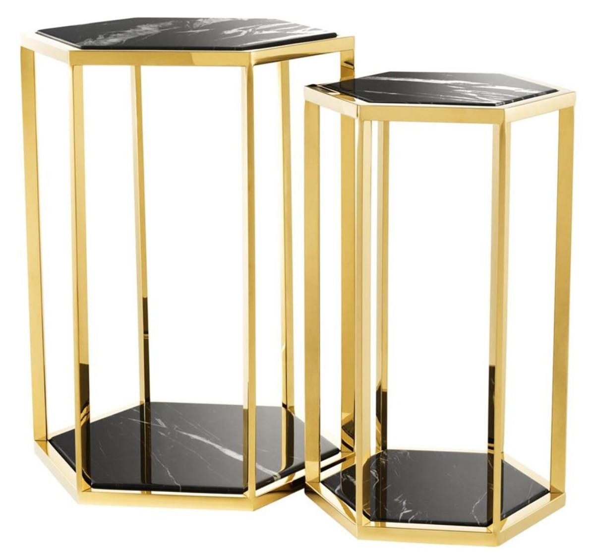 Casa Padrino Luxus Beistelltisch 2er Set In Gold Mit Schwarzem