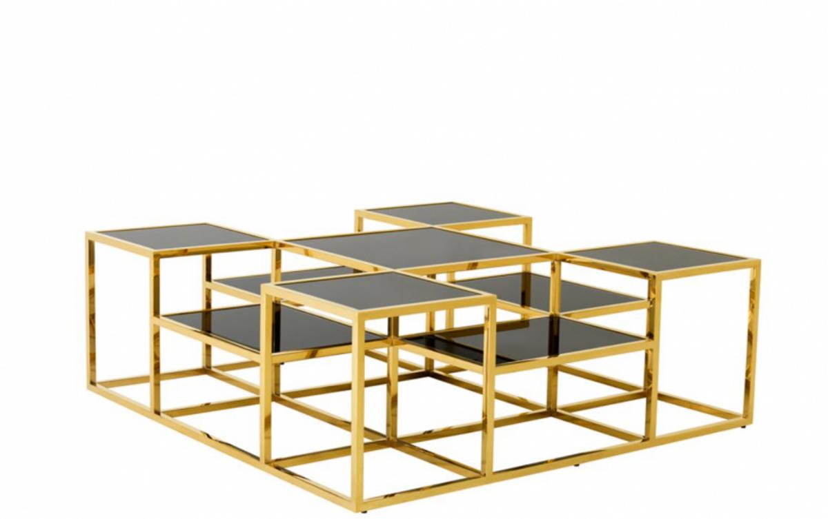 Casa Padrino Luxus Art Deco Designer Couchtisch Gold Mit Schwarzem