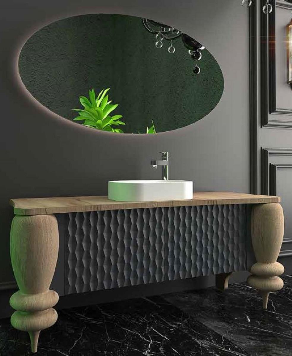 Casa Padrino Luxus Badezimmer Set Naturfarben / Grau / Weiß - 1221222 Waschtisch  mit 1222 Türen und 1221222 Waschbecken und 1221222 LED Wandspiegel - Luxus Badezimmermöbel Klein