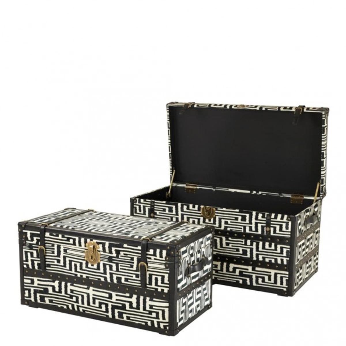 Casa Padrino Vintage Koffer Truhen Set (2 Truhen) Schwarz / Weiß ...