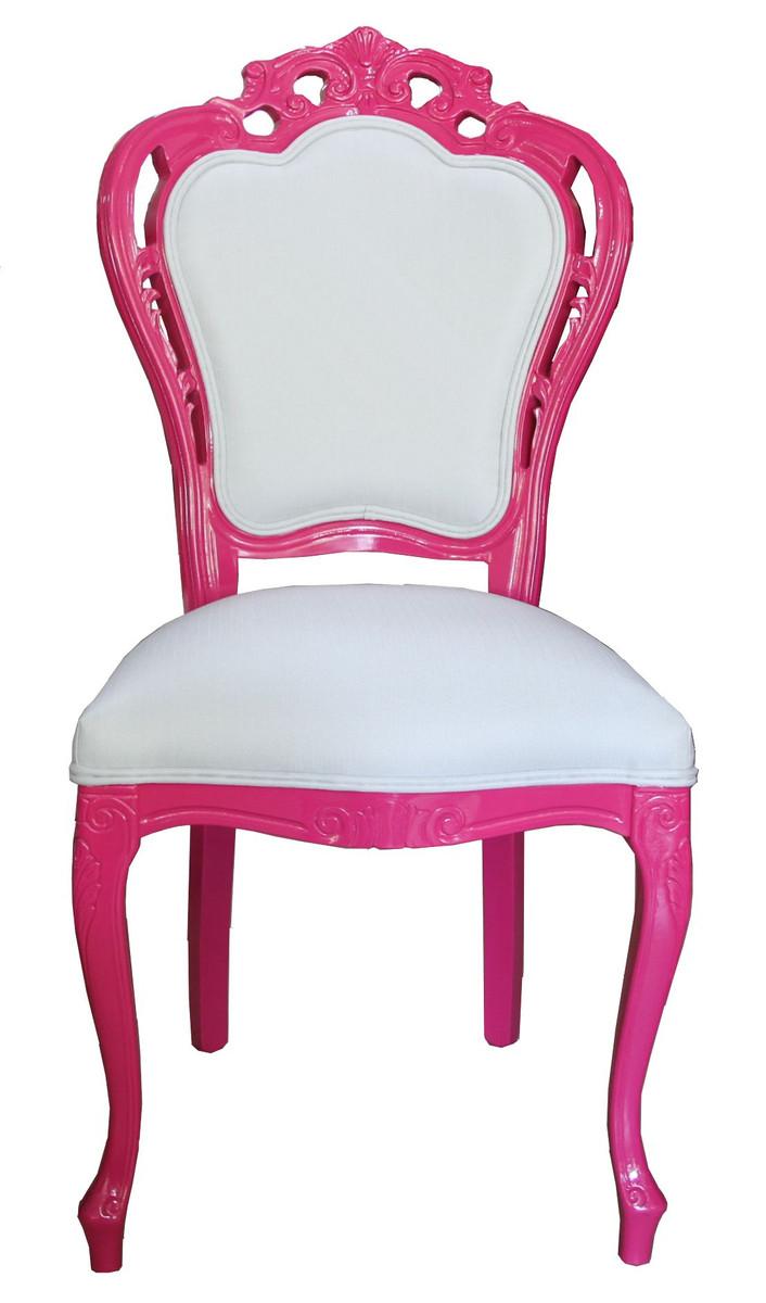 casa padrino luxus barock esszimmer stuhl in wei pink. Black Bedroom Furniture Sets. Home Design Ideas