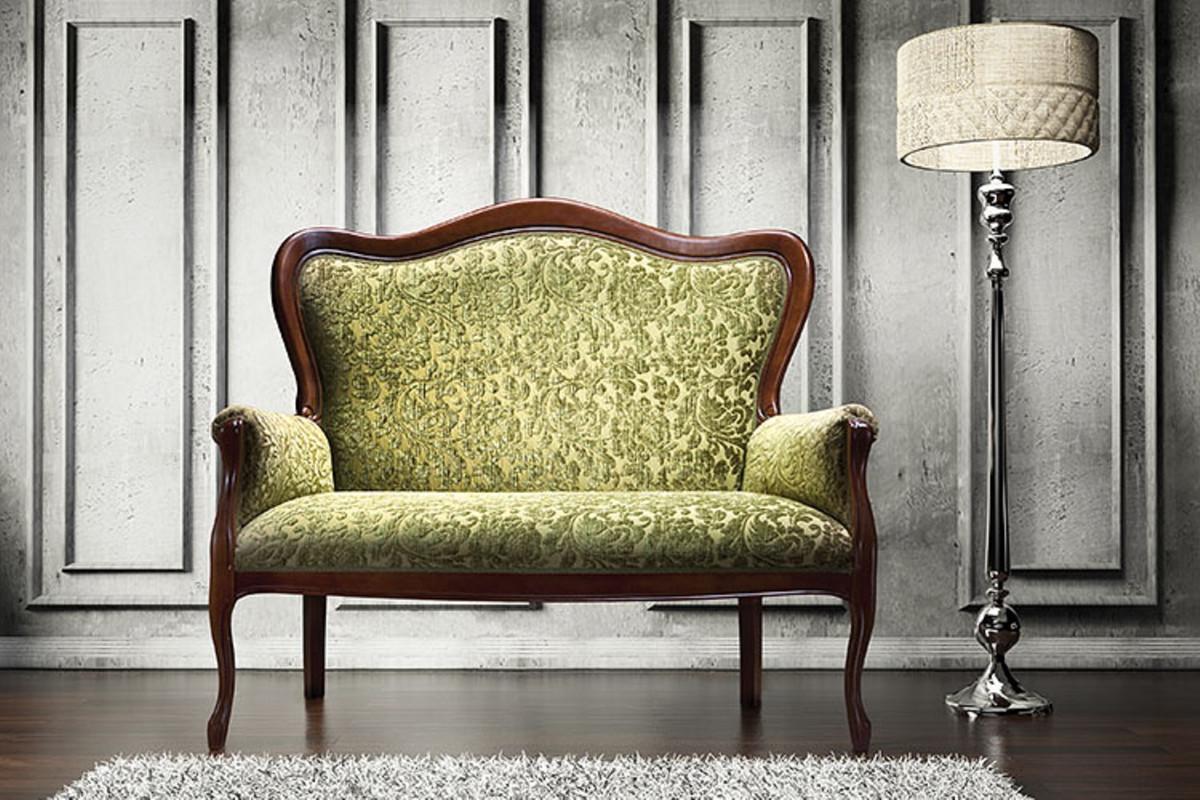 casa padrino luxus barock sofa grün  dunkelbraun 124 x 74