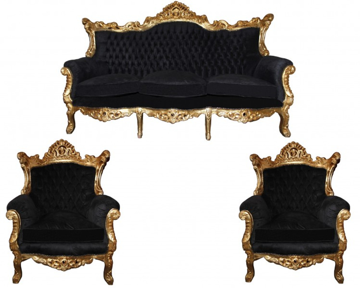 Casa Padrino Barock Wohnzimmer Set Master Schwarz / Gold Mod2   3 Er Sofa +  ...