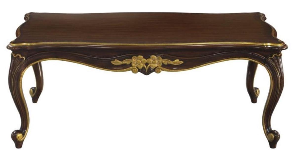 Casa Padrino Luxus Barock Couchtisch Dunkelbraun Gold 117 X 72 X H