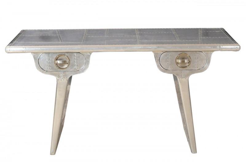 casa padrino luxus designer schreibtisch aluminium b 150 cm t 75 cm art deco - Schreibtisch Aus Flugzeugflgel