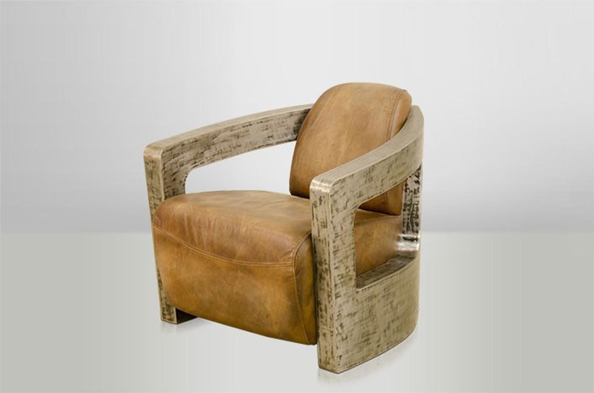 Art Deco Echt Leder Sessel Mars Echt Leder Beige Vintage
