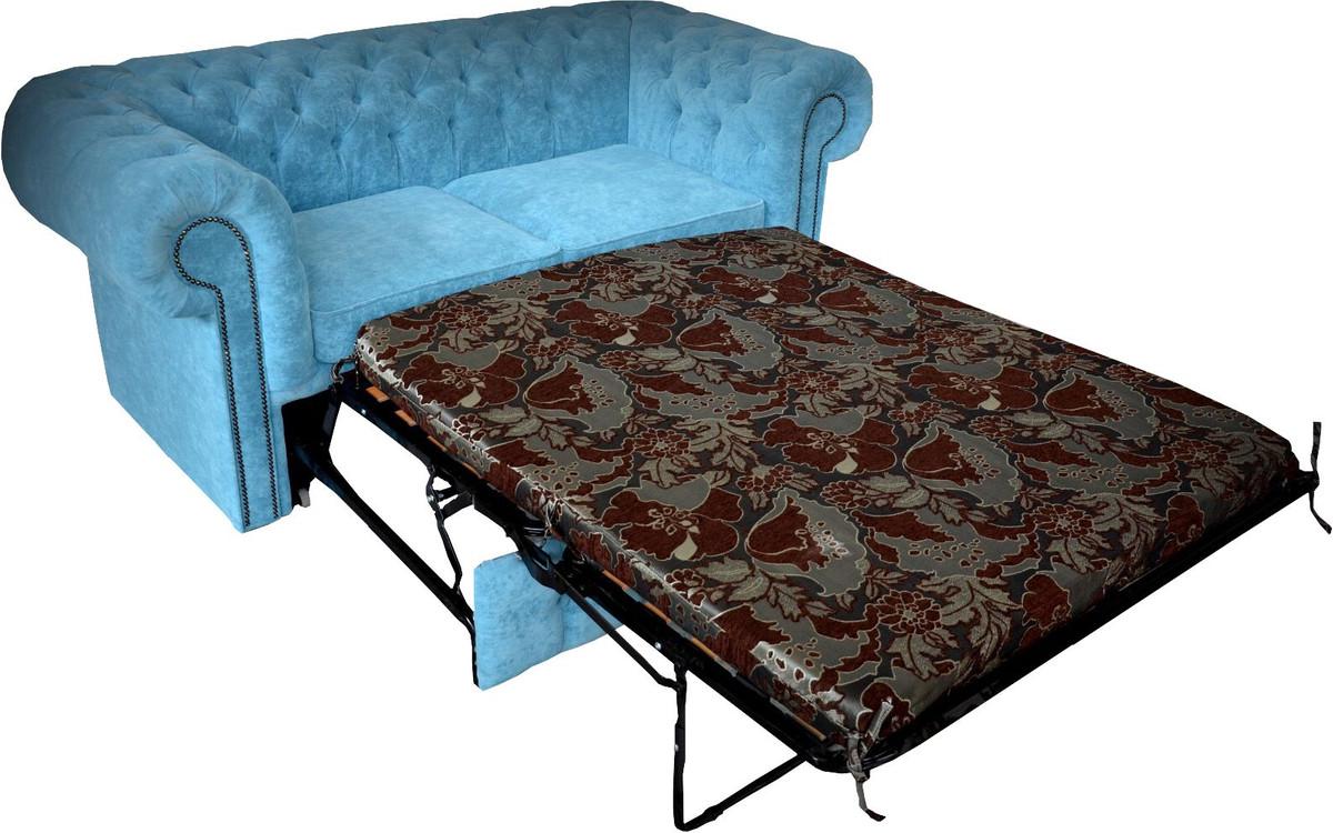 Casa Padrino Chesterfield 2er Sofa in Hell Blau 180 x 100