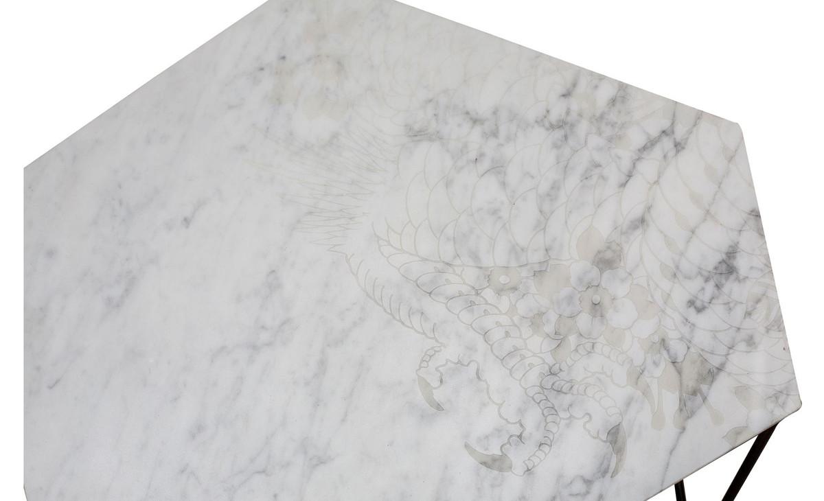 Casa Padrino Designer Couchtisch Weiß Mit Muster / Schwarz