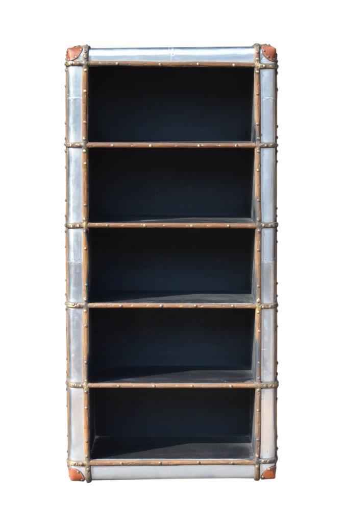 casa padrino art deco aluminium schrank / bücherregal - vintage look
