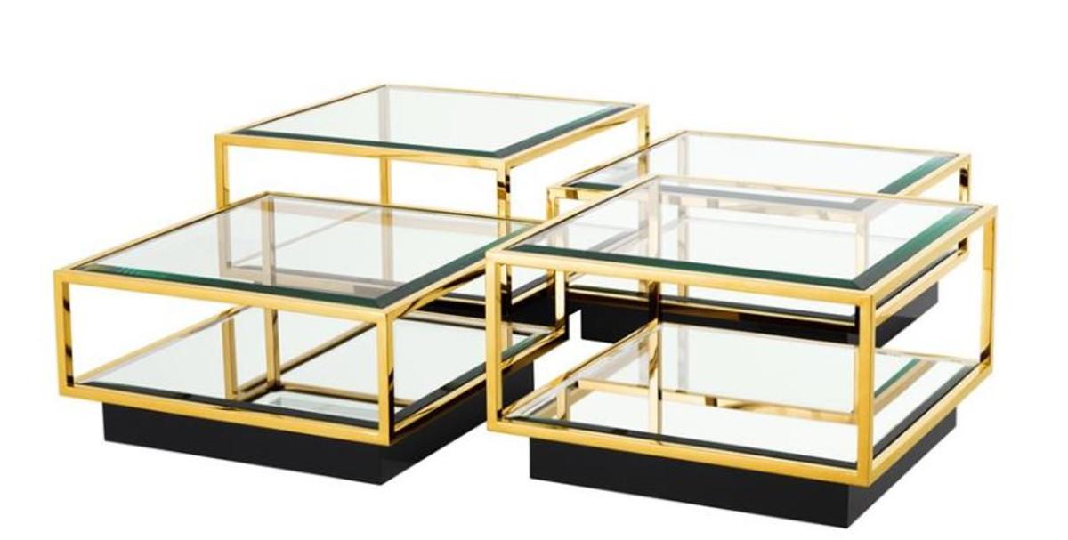Casa Padrino Art Deco Luxus Couchtisch Gold 4er Set   Wohnzimmer Salon  Tisch 1 ...