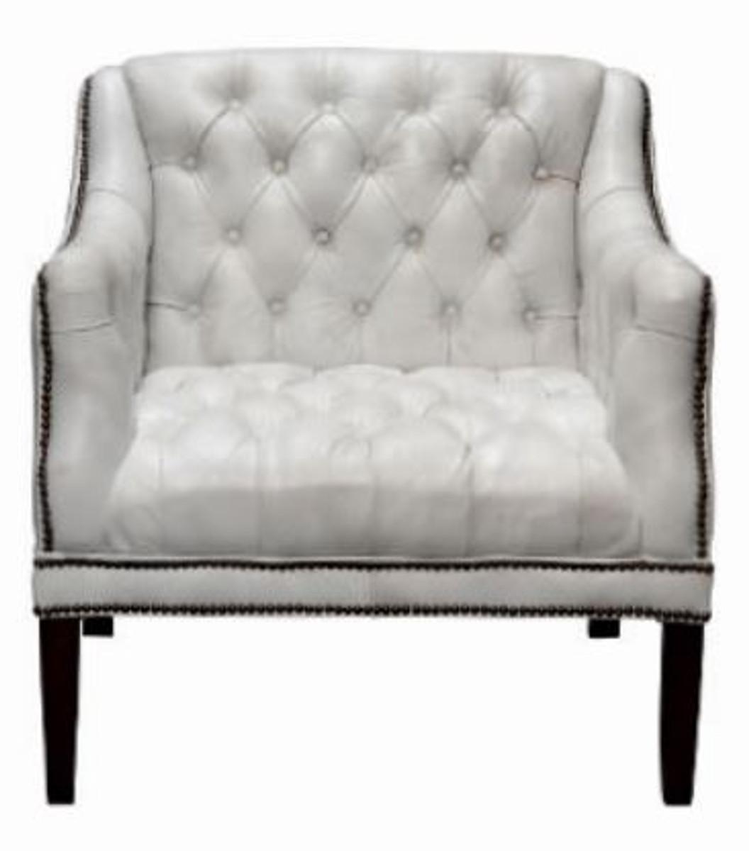 Casa Padrino Luxus Echtleder Wohnzimmer Sessel Weiß Schwarz 80 X