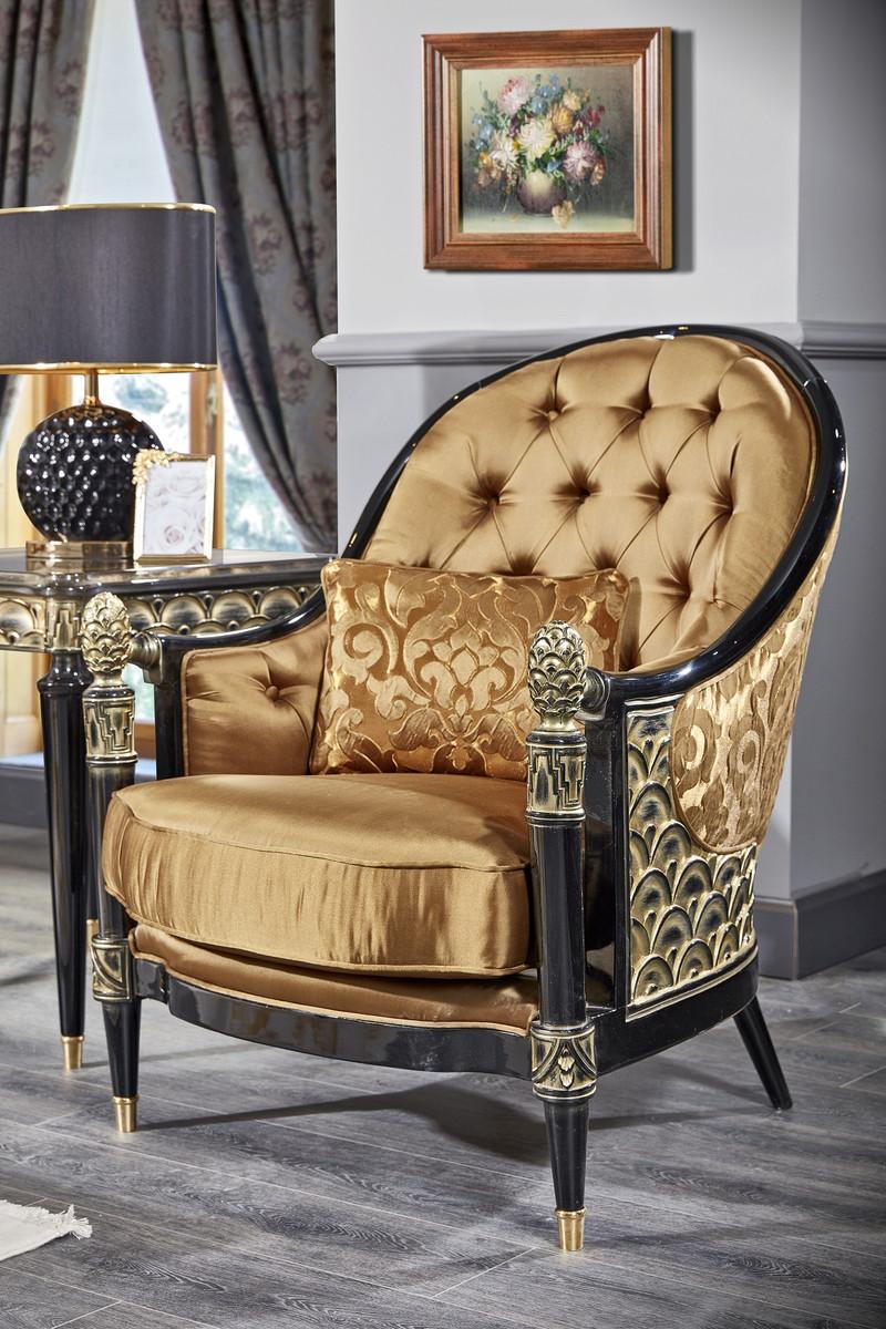 Casa Padrino Luxus Barock Chesterfield Sessel Gold / Schwarz 80 x 91 x H.  101 cm - Barock Wohnzimmermöbel