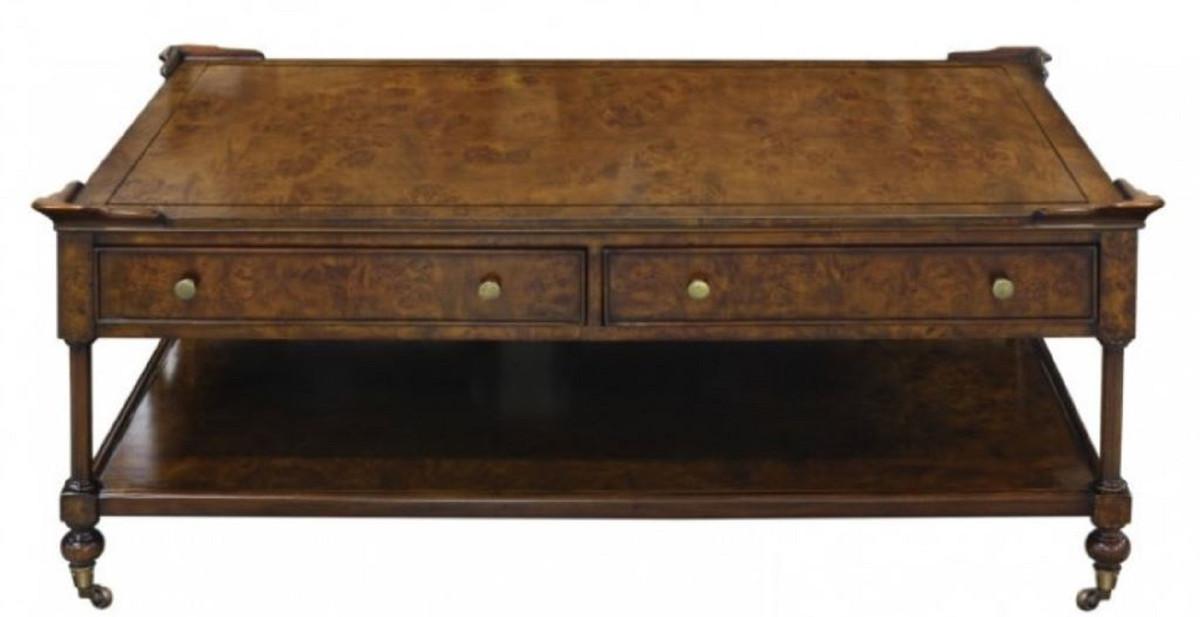 Casa Padrino Luxus Jugendstil Couchtisch Braun 125 x 81 x H. 48 cm -  Wohnzimmertisch mit Rollen und 2 Schubladen
