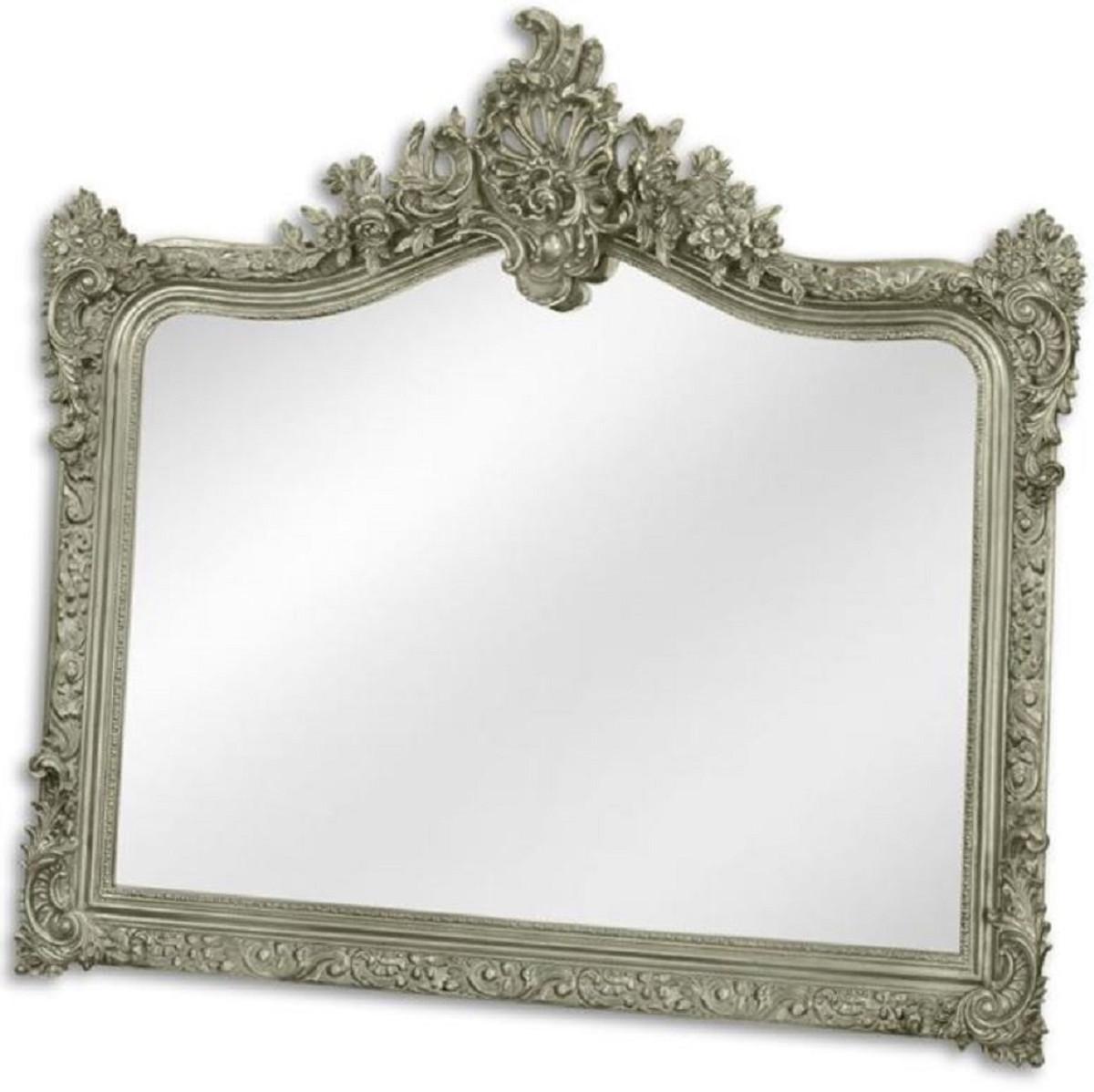 Casa Padrino Barock Spiegel Silber 9 x H. 9 cm - Garderoben Spiegel -  Wohnzimmer Spiegel - Prunkvoller Wandspiegel im Barockstil