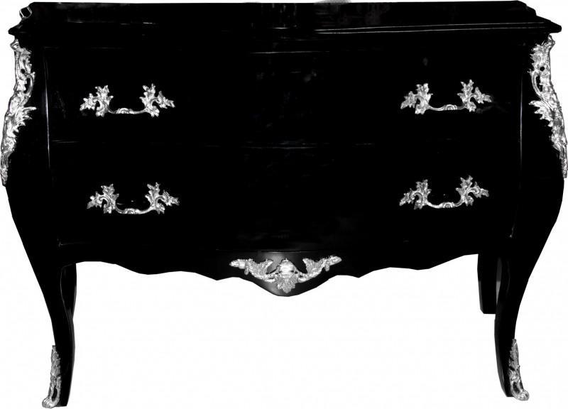 casa padrino barock kommode schwarz 120 cm mit silbernen metallapplikationen kaufen bei. Black Bedroom Furniture Sets. Home Design Ideas