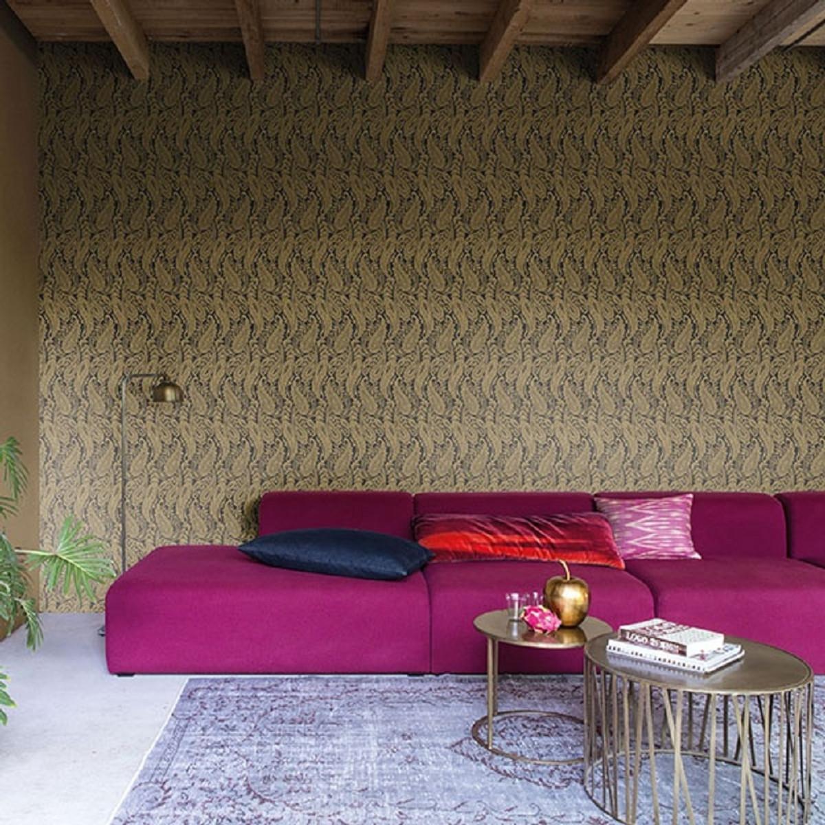 Casa Padrino Barock Wohnzimmer Tapete Grau / Gold 10, 05 x 0, 53 m -  Hochwertige Textiltapete