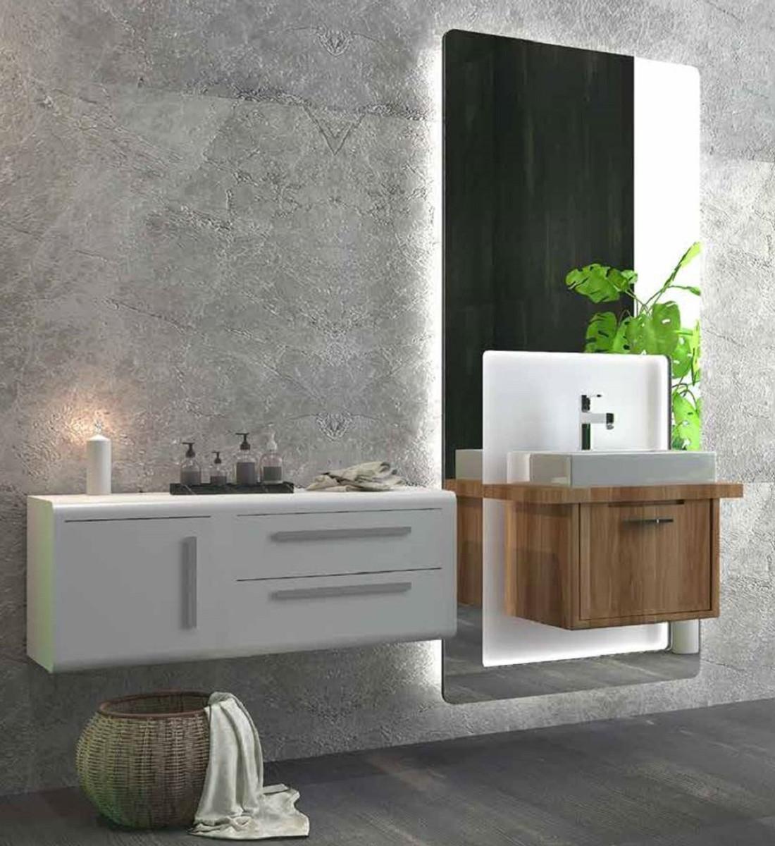 Casa Padrino Luxus Badezimmer Set Braun / Weiß - 1 Waschtisch und 1  Waschbecken und 1 LED Wandspiegel und 1 Hängeschrank - Luxus Badezimmermöbel