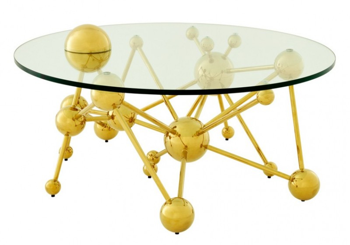 Casa Padrino Luxus Couchtisch Edelstahl Glas Gold Astronomy Art